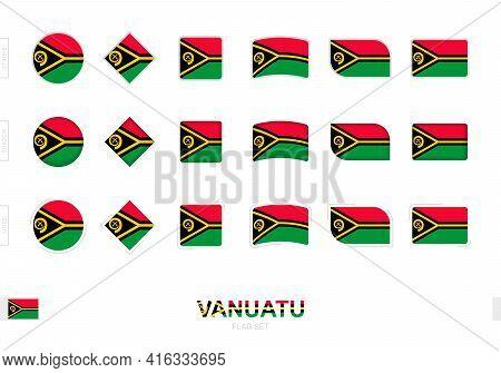 Vanuatu Flag Set, Simple Flags Of Vanuatu With Three Different Effects. Vector Illustration.