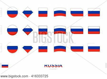Russia Flag Set, Simple Flags Of Russia With Three Different Effects. Vector Illustration.