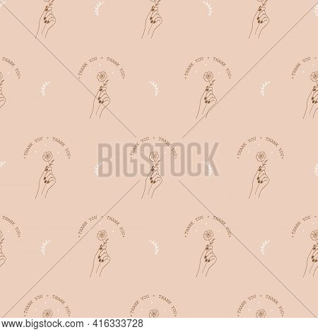 Seamless Pattern With Boho Thank You Stickers. Thank You For Your Order Background. Modern Vector Il