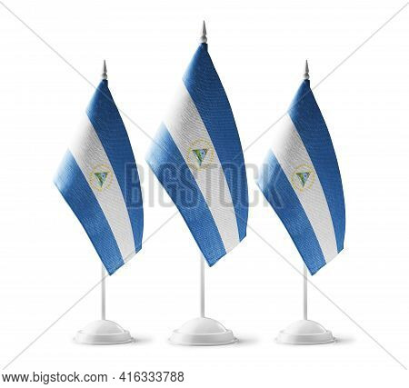 Small National Flags Of The Nicaragua On A White Background