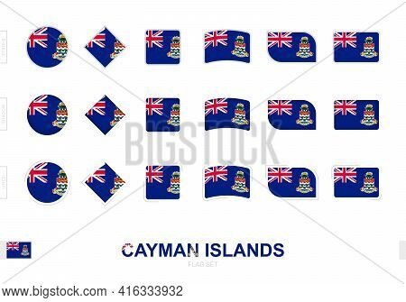 Cayman Islands Flag Set, Simple Flags Of Cayman Islands With Three Different Effects. Vector Illustr
