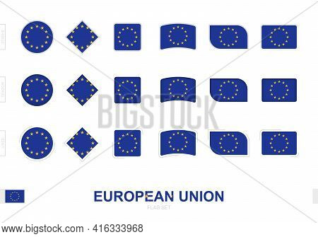 European Union Flag Set, Simple Flags Of European Union With Three Different Effects. Vector Illustr