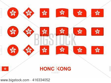 Hong Kong Flag Set, Simple Flags Of Hong Kong With Three Different Effects. Vector Illustration.