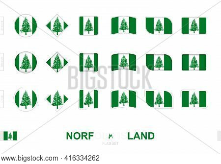Norfolk Island Flag Set, Simple Flags Of Norfolk Island With Three Different Effects. Vector Illustr