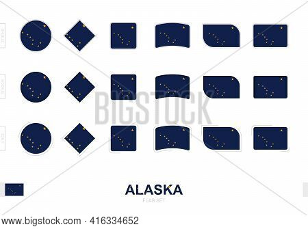 Alaska Flag Set, Simple Flags Of Alaska With Three Different Effects. Vector Illustration.