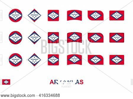 Arkansas Flag Set, Simple Flags Of Arkansas With Three Different Effects. Vector Illustration.