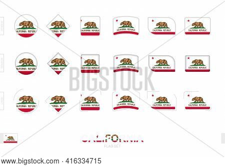 California Flag Set, Simple Flags Of California With Three Different Effects. Vector Illustration.