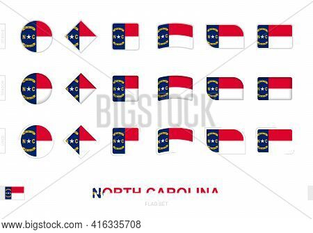 North Carolina Flag Set, Simple Flags Of North Carolina With Three Different Effects. Vector Illustr