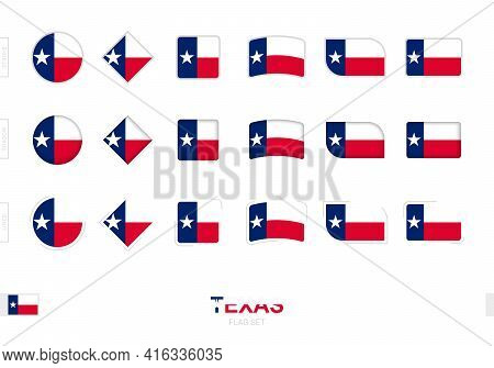 Texas Flag Set, Simple Flags Of Texas With Three Different Effects. Vector Illustration.