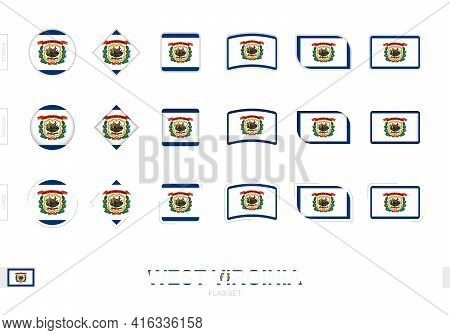 West Virginia Flag Set, Simple Flags Of West Virginia With Three Different Effects. Vector Illustrat