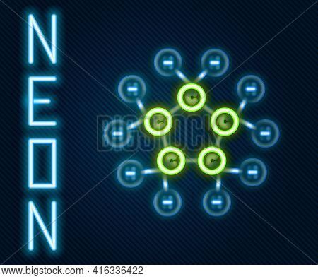 Glowing Neon Line Molecule Oil Icon Isolated On Black Background. Structure Of Molecules In Chemistr