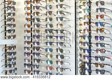 Stand With Sunglasses. Sale The City Market Or In The Store Sunglasses. Trendy Sunglasses, Summer Ey