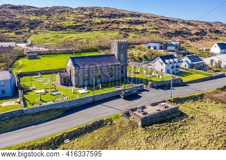 Aerial View The Church Of Ireland By Portnoo In County Donegal, Ireland.