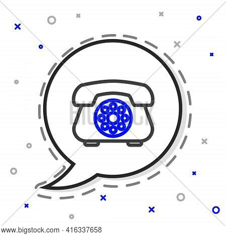Line Telephone Icon Isolated On White Background. Landline Phone. Colorful Outline Concept. Vector I