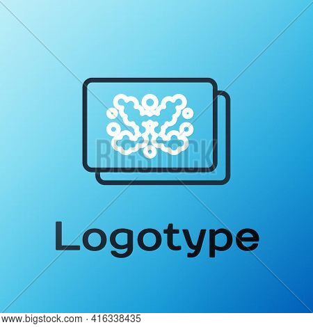 Line Rorschach Test Icon Isolated On Blue Background. Psycho Diagnostic Inkblot Test Rorschach. Colo