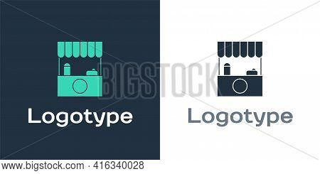 Logotype Street Stall With Awning And Wooden Rack Icon Isolated On White Background. Kiosk With Wood