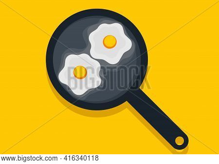 Illustration Of A Frying Pan Cooked Beef Eye Egg On A Bright Yellow Background