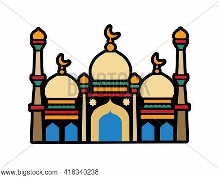 Islamic Mosque. The Holiday Of Ramadan, The Religion Of Islam. Building In Islam. Stained Glass. Vec
