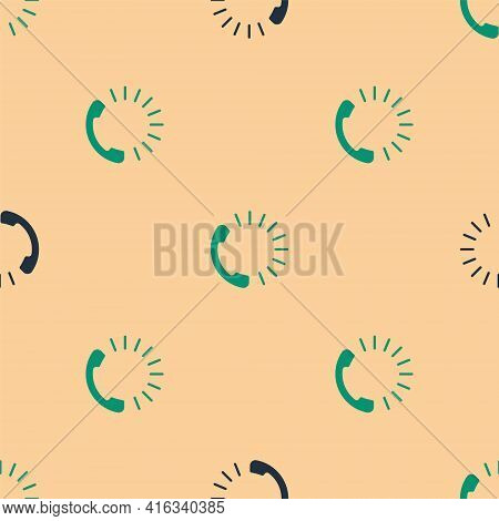 Green And Black Food Ordering Icon Isolated Seamless Pattern On Beige Background. Order By Mobile Ph