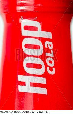 Pruszcz Gdanski, Poland - April 8, 2021: Hoop Cola Sign On Bottle.