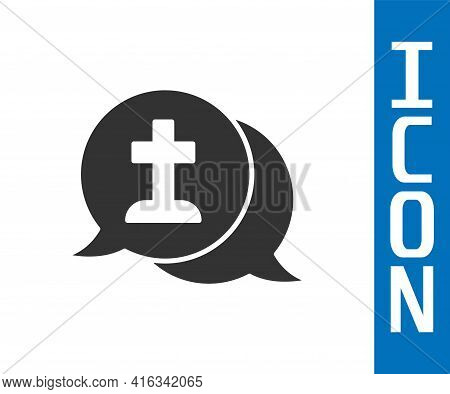 Grey Man Graves Funeral Sorrow Icon Isolated On White Background. The Emotion Of Grief, Sadness, Sor