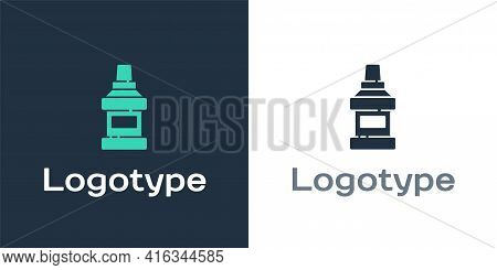Logotype Mouthwash Plastic Bottle Icon Isolated On White Background. Liquid For Rinsing Mouth. Oralc