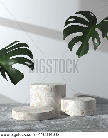 Modern Minimal Mockup Step Podium On Concrete Floor And Monstera With Sunshade Wall Abstract Backgro