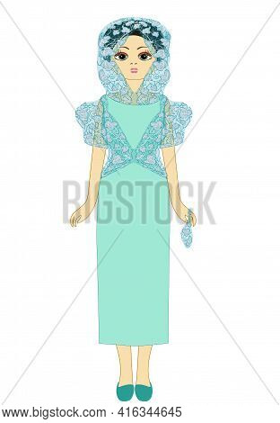 Оriental Woman In A Long Dress In Menthol Shade And A Transparent Headdress. Abstract Pattern. Illus