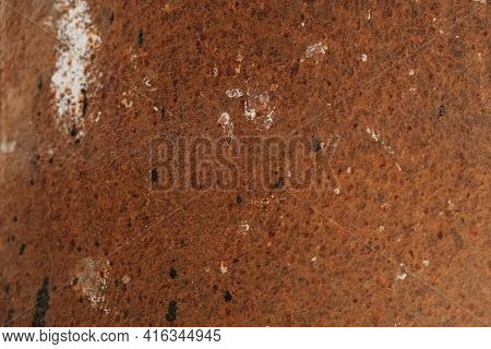 Rusty Metal Surface As A Background Texture. Copy, Empty Space For Text