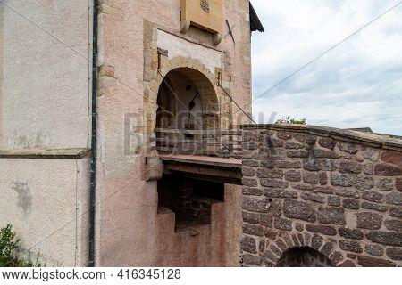 Entrance Gate Of Castle Wartburg Near Eisenach With Drawbridge
