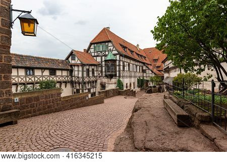Castle Courtyard With Half-timbered Houses Of Wartburg Castle Near Eisenach, Thuringia