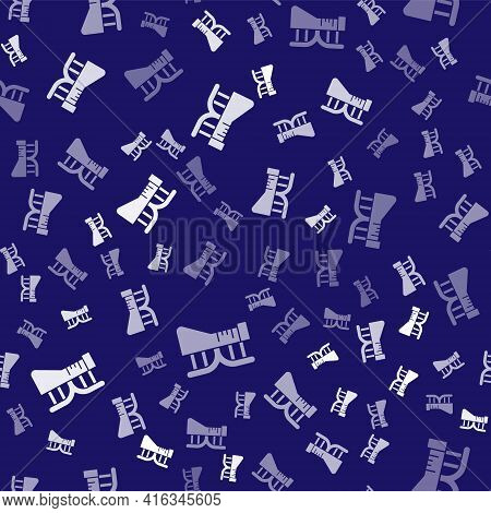 White Dna Research, Search Icon Isolated Seamless Pattern On Blue Background. Genetic Engineering, G