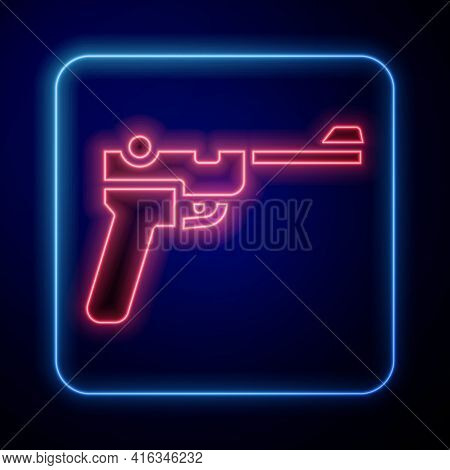Glowing Neon Mauser Gun Icon Isolated On Blue Background. Mauser C96 Is A Semi-automatic Pistol. Vec