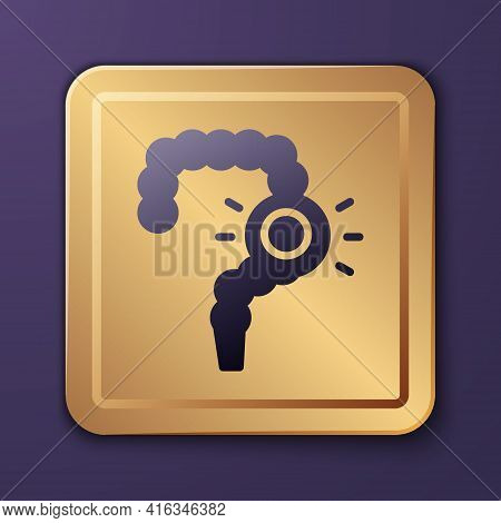 Purple Gut Constipation Icon Isolated On Purple Background. Bowel Problems. Gold Square Button. Vect