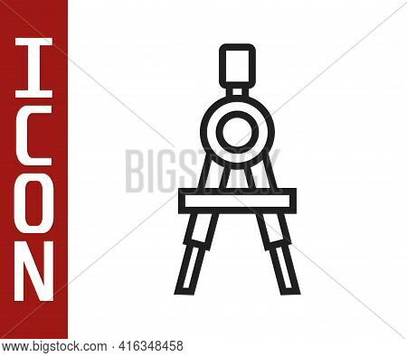 Black Line Drawing Compass Icon Isolated On White Background. Compasses Sign. Drawing And Educationa