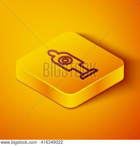 Isometric Line Human Target Sport For Shooting Icon Isolated On Orange Background. Clean Target With