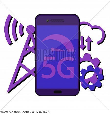 5g Technology Concept. Smartphone With 5g Symbol And With Wireless Tower. New 5th Generation Mobile