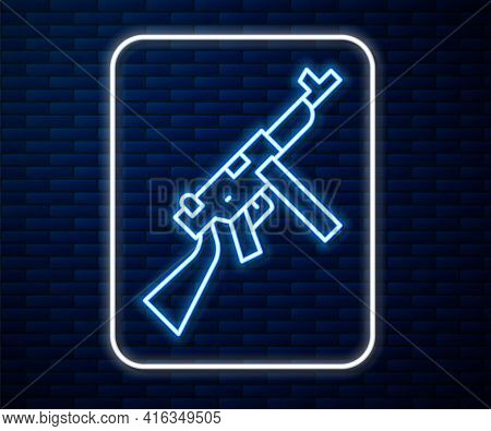Glowing Neon Line Thompson Tommy Submachine Gun Icon Isolated On Brick Wall Background. American Sub