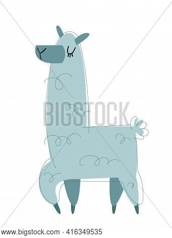Llama Cartoon Vector. Image In Cartoon Style Isolated On White Background. Trending Style And Color