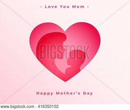 Happy Mothers Day Love Heart Mom And Child Background