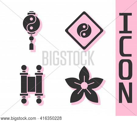 Set Lotus Flower, Yin Yang, Decree, Paper, Parchment, Scroll And Yin Yang Icon. Vector