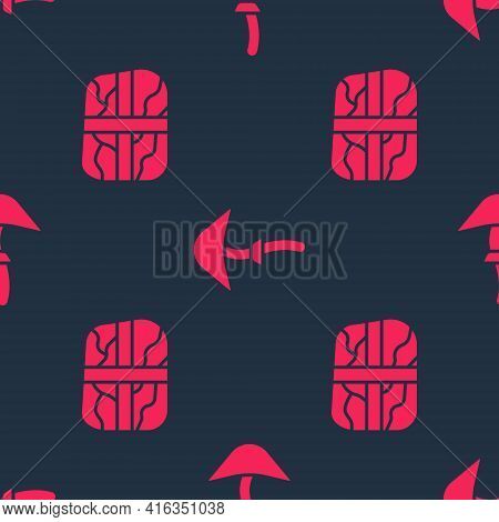 Set Package With Cocaine And Psilocybin Mushroom On Seamless Pattern. Vector