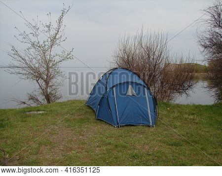 Tent On The Shore Of The Lake, Tourist Tent On The Shore Of The Pond.