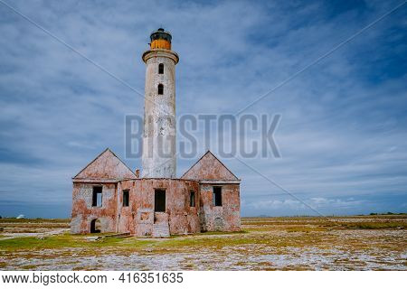 Island Of Klein Curacao In The Caribbean Near The Island Curacao With The Red Lighthouse, Small Isla