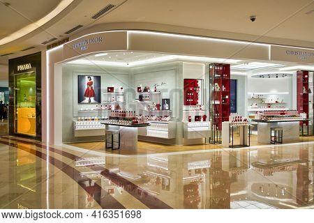 KUALA LUMPUR, MALAYSIA - CIRCA JANUARY, 2020: Christian Dior fragrances on display at Suria KLCC shopping mall in Kuala Lumpur.