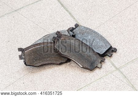 View On Old Worn Out Car Brake Pads.