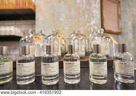 KUALA LUMPUR, MALAYSIA - CIRCA JANUARY, 2020: close up shot of Le Labo home fragrances on display at a store in Suria KLCC shopping mall in Kuala Lumpur.