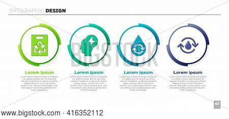 Set Paper Bag With Recycle, Head And Electric Symbol, Recycle Clean Aqua And Recycle Clean Aqua. Bus
