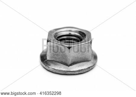 Metal Nut On A White Background. Close Up.