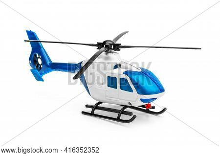 Toy Of Helicopter On A White Background.